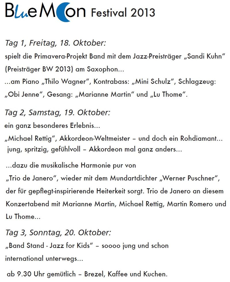 Flyer - Bluemoon Festival 2013 - Programm